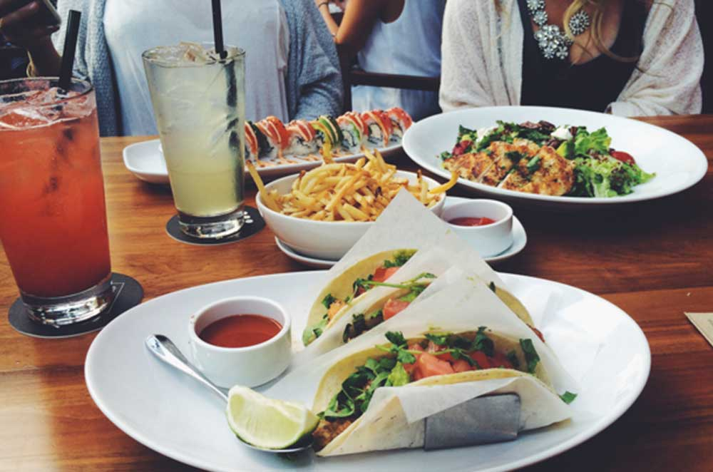 Tacos, Fries, And Colorful Drinks
